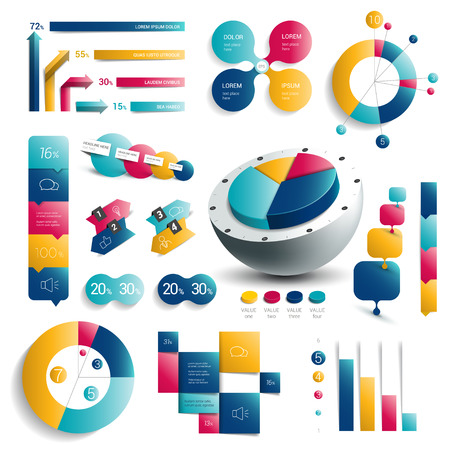 pie chart: Collection of infographics elements. Colorful set template.