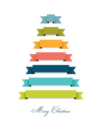 moños navideños: Estilizados planas del árbol de navidad decoración Cintas 2015. Vector de fondo.