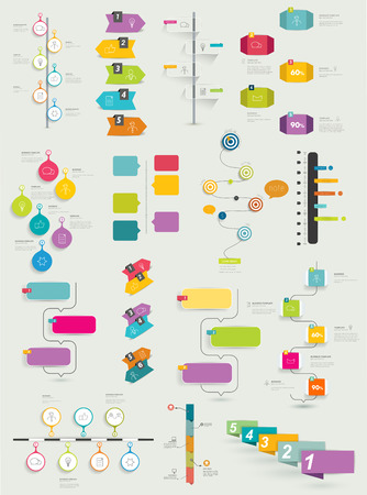 Big collection of timeline template. Vector infographic. Stock Vector - 43564481