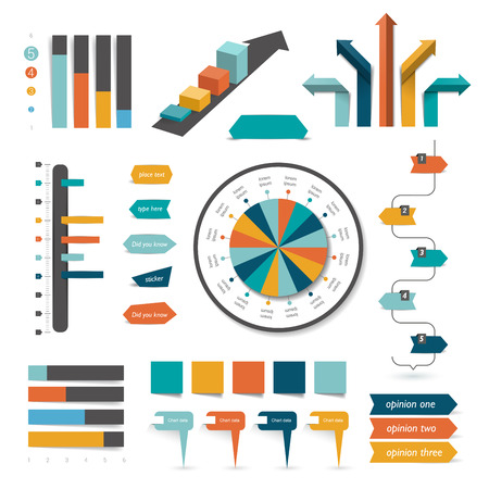 set design: Collection of infographics elements. Colorful set template.