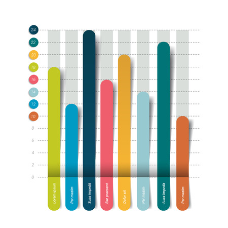 3D chart, graph. Infographics element. Vector. Illustration