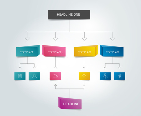business chart: Flowchart. Text color scheme. Infographics.