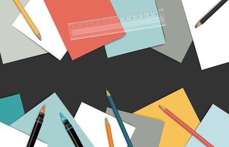 papeles oficina: Lugar de trabajo t�cnico. Vista superior de escritorio rodeado de papeles, t�cnicos pancils y bol�grafos.