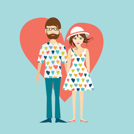 Young hipster wedding couple. Flat illustration. Stock Illustratie