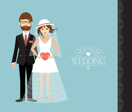 cartoon wedding couple: Young wedding couple. Flat illustration.