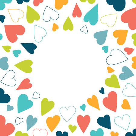 heart background: Color heart background pattern. Round shape festival background isolated. Illustration