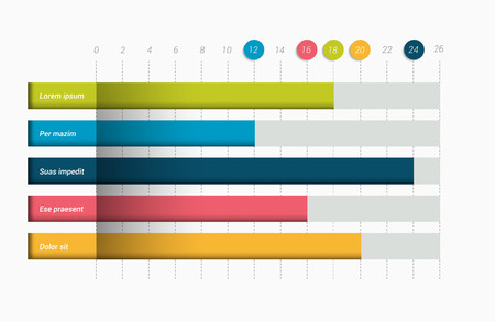 bars: Flat chart, graph. Simply editable color. Infographics elements. Illustration