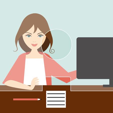 Mujer empleado en una oficina bancaria. Vector plana. Vectores