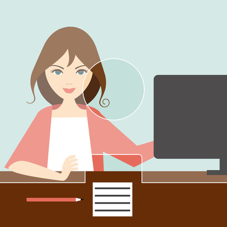 counter service: Woman clerk in a bank office. Flat vector.
