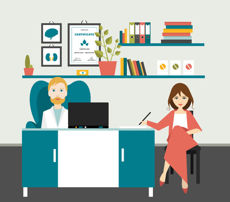 doctor and patient vector: Doctor and patient in office surgery. Flat vector illustration.