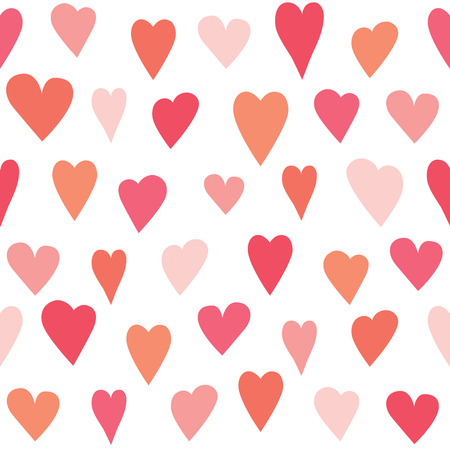 Stylized heart seamless pattern. White isolated vector background, wall paper.