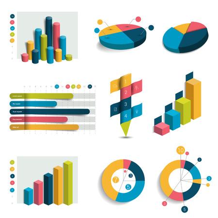 estadistica: infografía 3D conjunto de informes y gráficos.