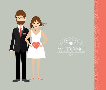 若い結婚式のカップル。フラットの図。
