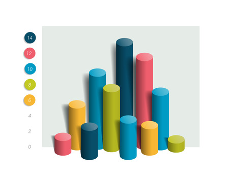 graph trend: 3D colummn chart, graph. Simply editable color. Infographics elements.