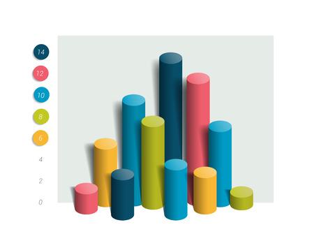 graph: 3D colummn chart, graph. Simply editable color. Infographics elements.