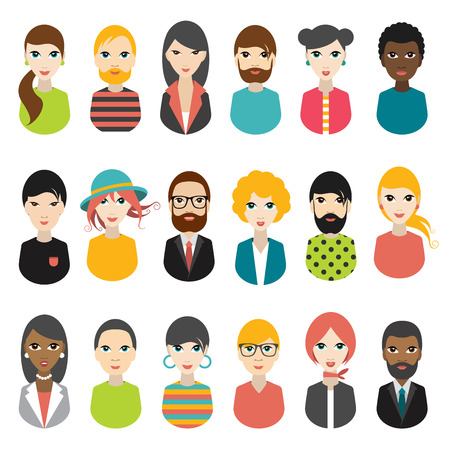 Big set of avatars profile pictures flat icons. Vector illustration.