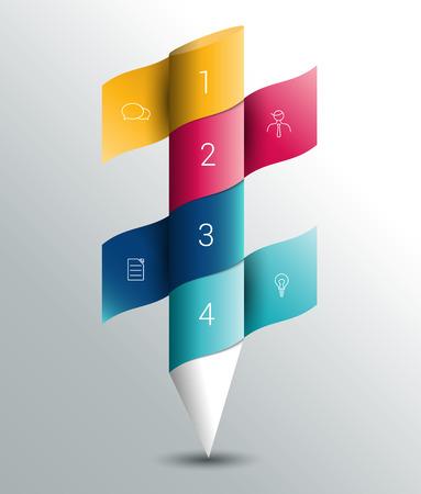 steppe: Infographics colummn banner template. Color pencil ribbon design.