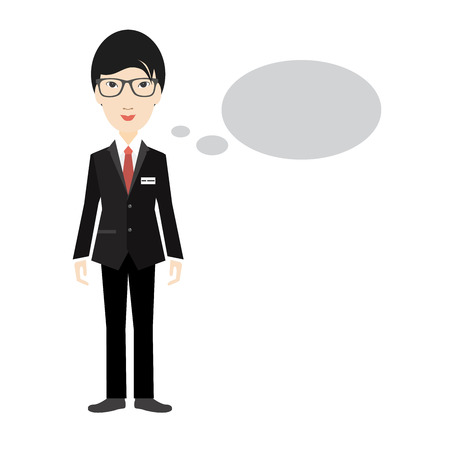 asian business: Asian business man speaking. Flat illustration isolated on white.
