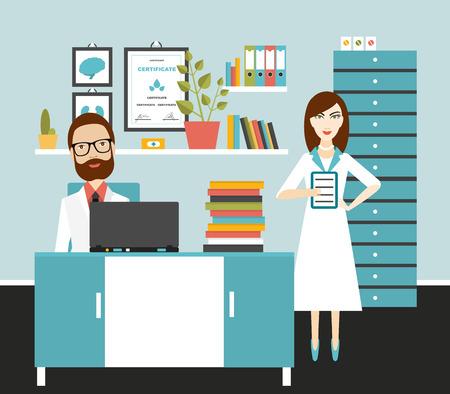 medico caricatura: Doctor y lugar de trabajo de oficina de la enfermera. Ilustración vectorial Flat.
