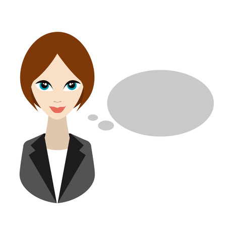 woman think: Business woman speaking. Flat illustration.