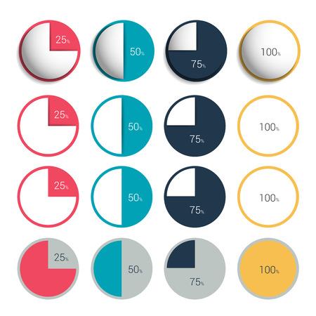 charts graphs: Set of 3d, plastic and flat circle, round charts, graphs.
