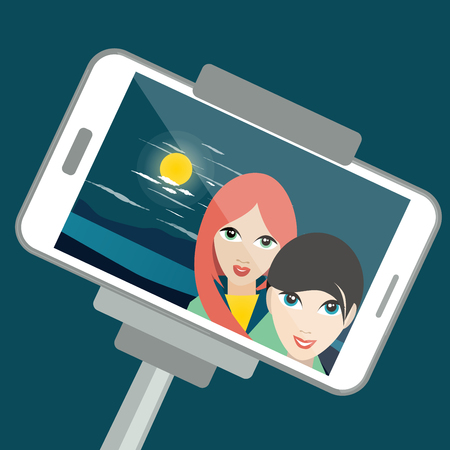 teenage girls: Two girls making photo selfie night with moon light. Vector cartoon illustration.