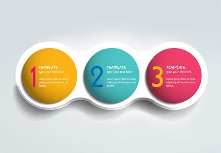 number three: 3 Steps elements bubble chart, scheme, diagram. Infographic template.