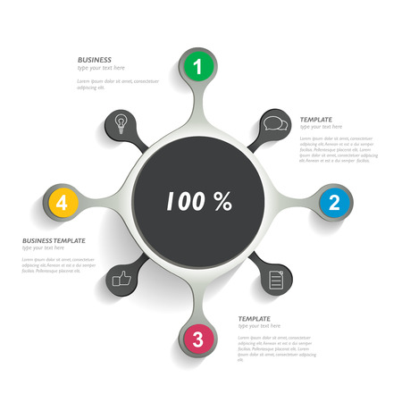graphic background: Round infographic chart, diagram template. Vector.