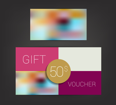 trend: Trend color flat design gift voucher.