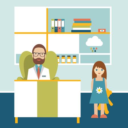 bebe enfermo: Médico y paciente en poco cirugía oficina amigable. Clínica Pediátrica. Ilustración vectorial de dibujos animados plana.