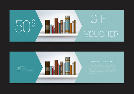 book store: Excllusive Book store gift voucher template. Simply modern design. Book shelf design.