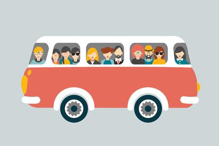chofer de autobus: Bus retro con los pasajeros. Vector concepto plana.
