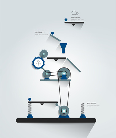 pulley: Moving working mechanism. Infographics robotic diagram, chart, scheme. Vector illustration.