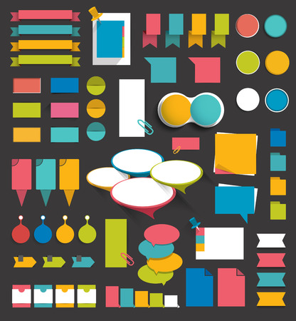 Collection of colorful flat paper stickers, folders, post it, bubbles set without text. Graphic elements.