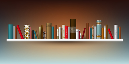 옥내의: Book shelf. Vector illustration. Bookstore indoor.