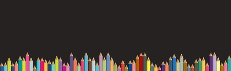 paper craft: Lápices de fondo. Tablero negro con lápices de colores aislados. Volver al concepto de escuela.