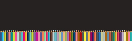 Colored pencils background. Black board with crayons isolated. Back to school concept. Stock Illustratie