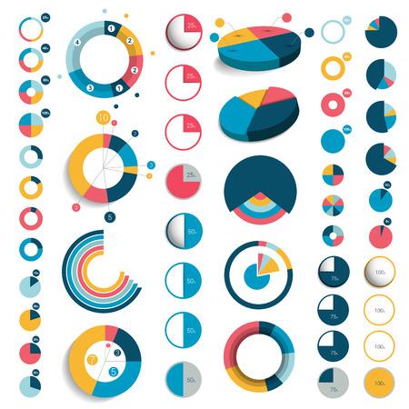 circle design: Mega set of 3d, plastic and flat circle, round charts, graphs.