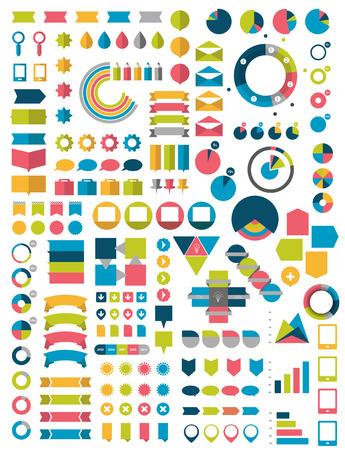 평면 인포 그래픽 디자인 요소의 큰 컬렉션. 벡터 일러스트 레이 션.