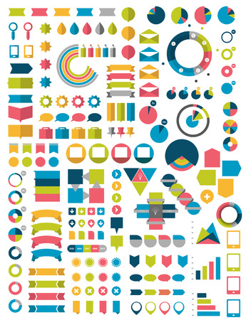 leaflet: Big Collections of flat infographics design elements. Vector illustration.