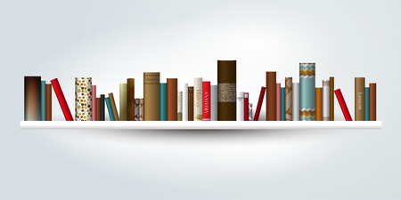 Book shelf. Vector illustration. Bookstore indoor.