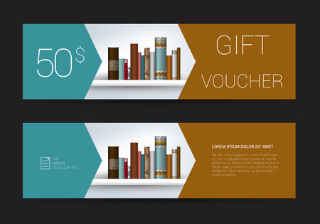 books new books: Excllusive Book store gift voucher template. Simply modern design. Book shelf design.