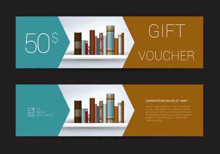 purchase book: Excllusive Book store gift voucher template. Simply modern design. Book shelf design.