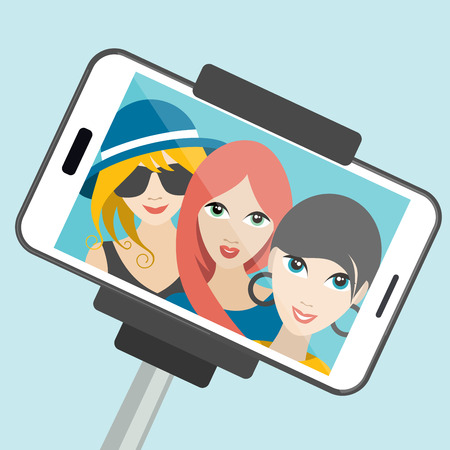 fashion girl: Three girls making summer selfie photo. Vector cartoon illustration.
