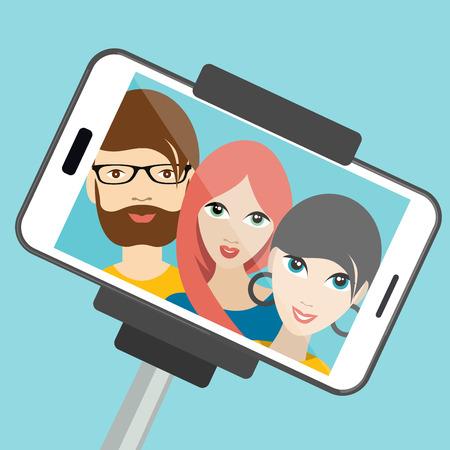 blonde girls: Three friends making summer selfie photo. Vector cartoon illustration. Illustration