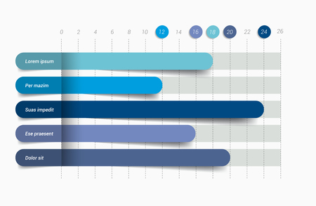 Flat chart, graph. Simply editable color. Infographics elements. Vectores