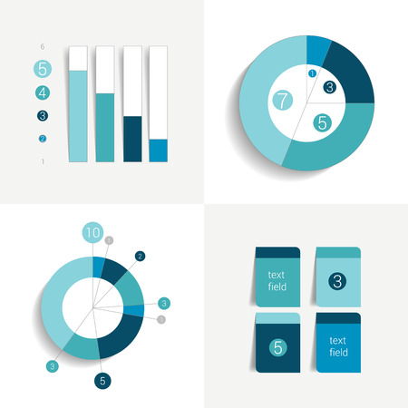 business report: Flat set of charts and brochure elements. Simply editable color. Infographics elements.