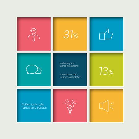 grafiken: Box-Diagramm für Infografiken. Web Diagrammvorlage. Vector Schema. Illustration