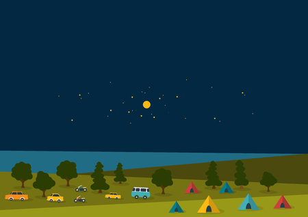 tsar: Summer night festival, party music poster background with color retro cars, vans, buses and tent field. Flat design.