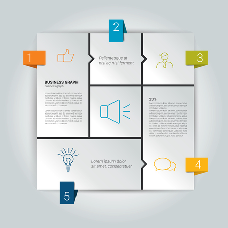 Box diagram for infographics. Web diagram template. Vector scheme.